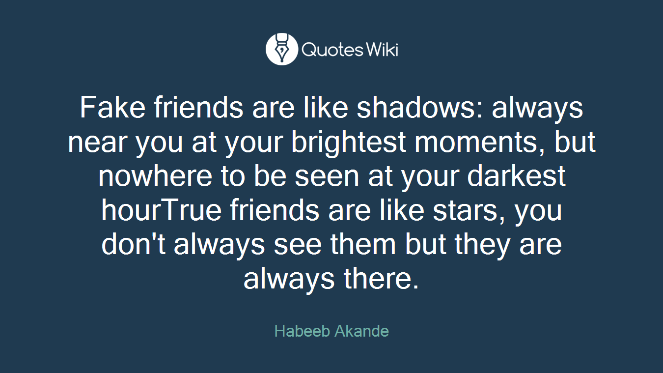 Quotes About Fake Friendship Fake Friends Are Like Shadows Always Near You